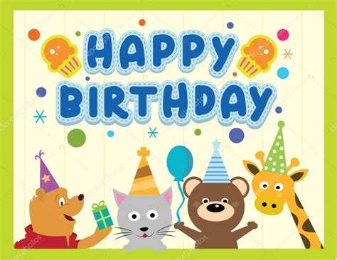 happy birthday animal stak design happy birthday card design with cute animals in vector