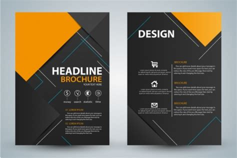 templates flyers cdr brochure design with modern black background vectors stock