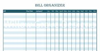 Monthly Bill Organizer Template Free by Monthly Bill Organizer Printable Search Results