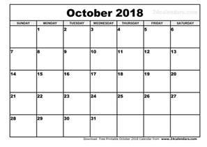 Calendar 2018 October October 2018 Calendar 2018 Calendar Printable