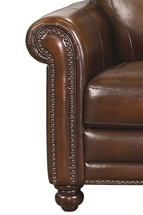 Bassett Hamilton Traditional Leather Chair And Ottoman