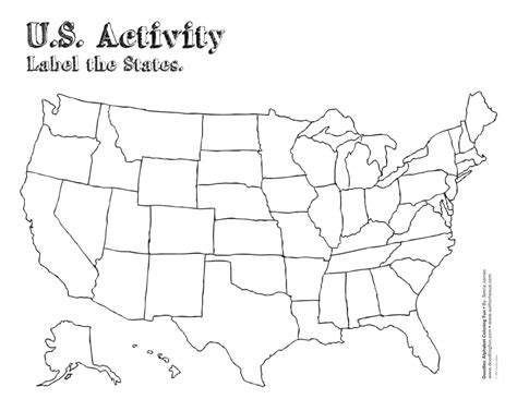 printable  map  labels fresh united states map