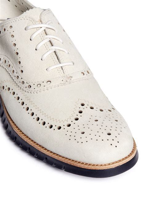 white wingtip oxford shoes lyst cole haan zerogrand wingtip brogue suede oxfords