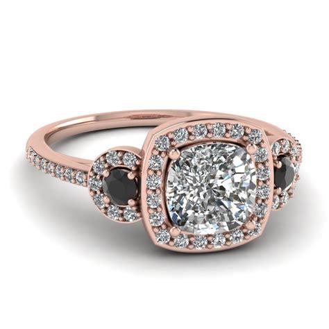 gold cushion white engagement wedding ring