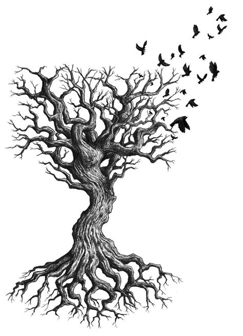 60 ash tree tattoos ideas flying birds and ash tree design