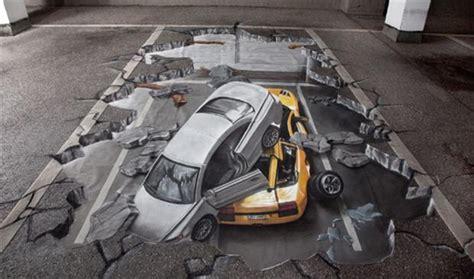 Car Crash Garage by Amazing 3d Chalk Parking Garage Car Crash