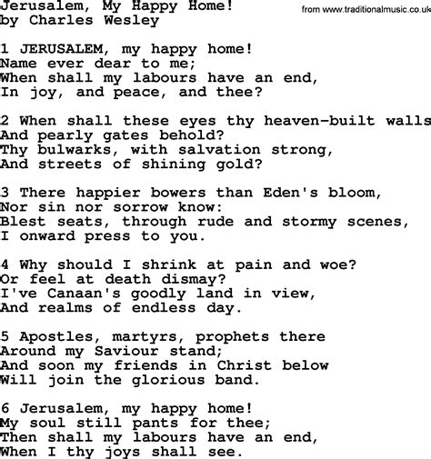 jerusalem my happy home by charles wesley hymn lyrics