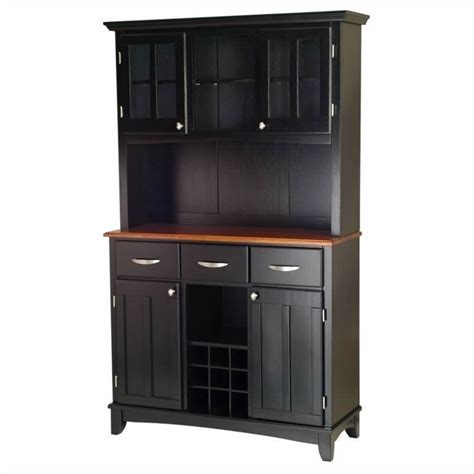 3 drawer black buffet and 2 door hutch with cottage oak