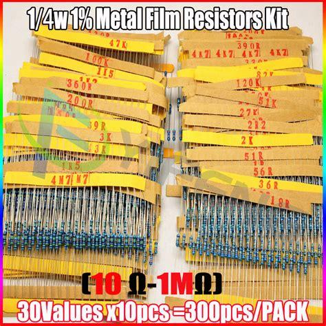resistor kit aliexpress total 300pcs 1 1 4w metal resistor assorted kit 30values 10pcs 300pcs 10 ohm 1m ohm in