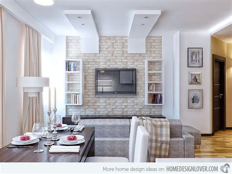 typing room brick wall accents in 15 living room designs