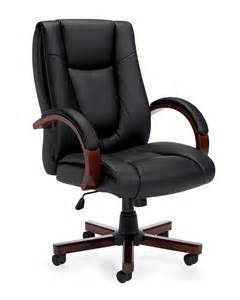 Office Chair Wooden Base Luxhide Executive Chair With Wood Arms And Base Black
