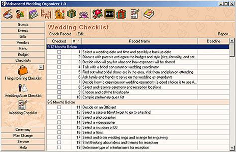 Wedding Planing Lists Sinhala Images by Filegets Advanced Wedding Organizer Screenshot Advanced