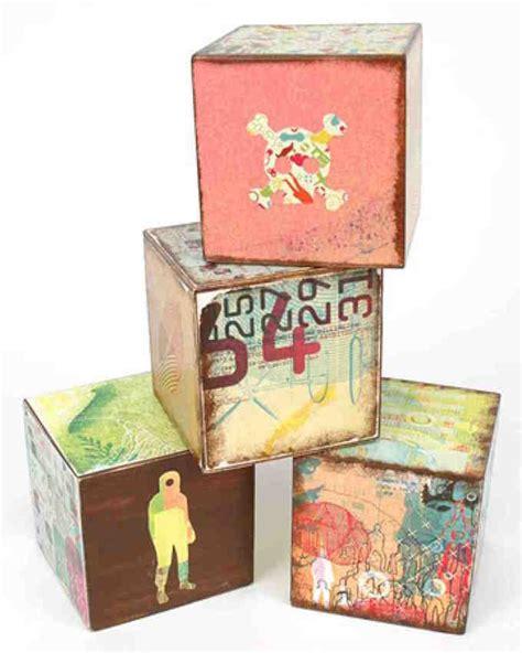 Decoupage Photos On Wood Blocks - not so much precious as pretty trendy baby blocks mod
