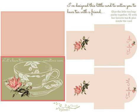 tea bag card template glenda s world let s tea card n tea bags