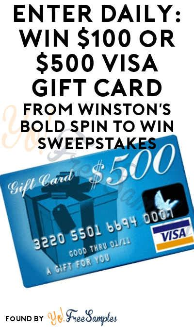500 Visa Gift Card Giveaway - enter daily win 100 or 500 visa gift card from winston s bold spin to win