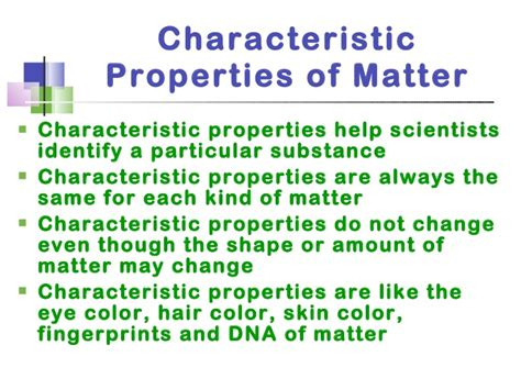 characteristic properties of matter