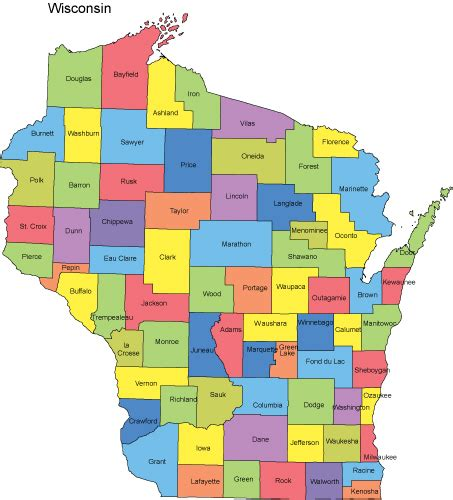 map of wisconsin counties wisconsin powerpoint map counties