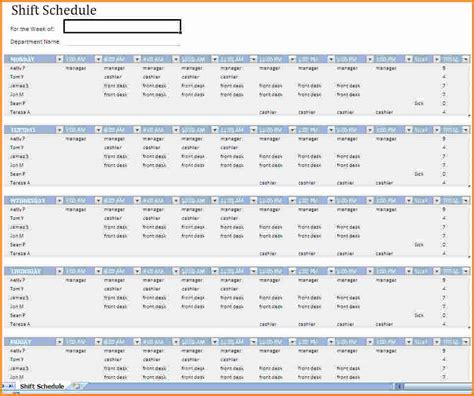 4 monthly schedule template excel authorization letter