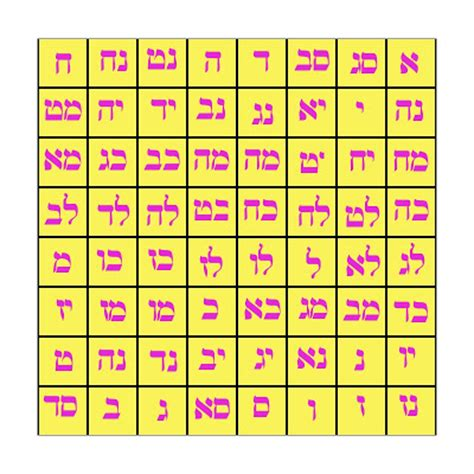 colors in hebrew the kamea in hebrew with colors