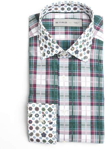 T2b A List Etro Check Shirt Dress by Etro And White And Green Check Cotton Spread Collar