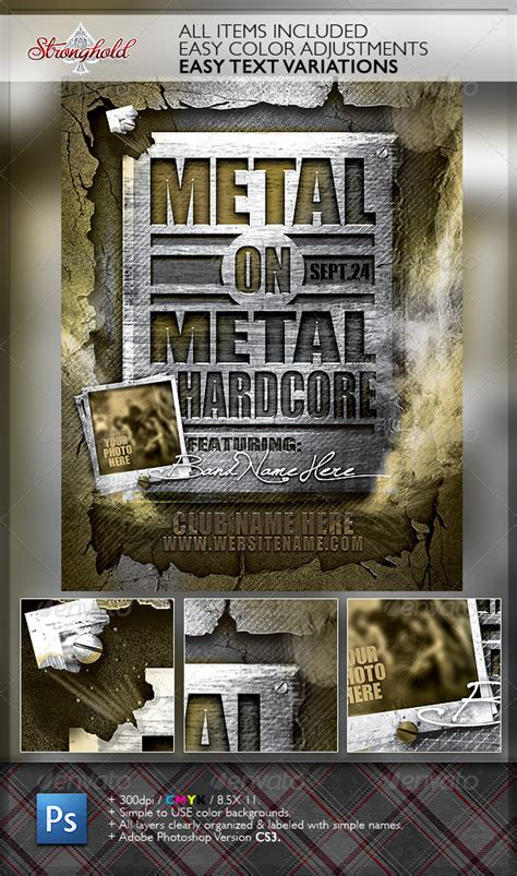 military templates for photoshop metal on metal hardcore flyer template graphicriver