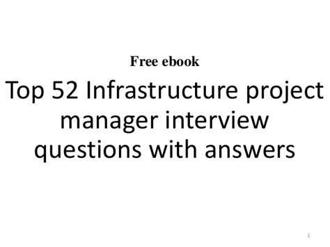 Infrastructure Project Manager by Infrastructure Project Manager Questions
