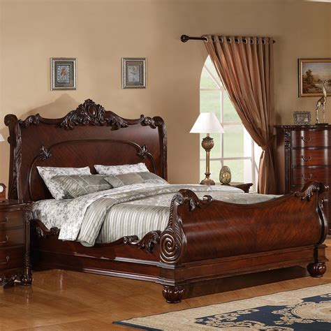 Solid Wood Sleigh Bed Roundhill Furniture Saillans Solid Wood Sleigh Bed Reviews Wayfair