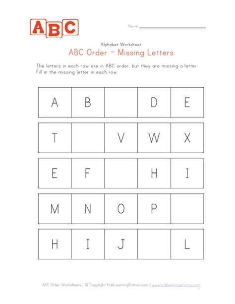 alphabet worksheets missing letters abc order worksheet easy capitals kids learning station