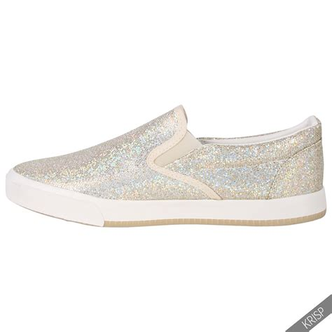 best athletic shoes for flat womens floral glitter slip on plimsolls trainers