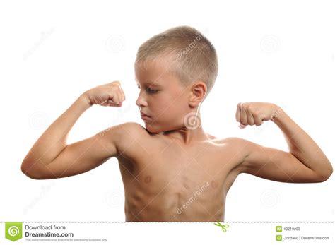 boys kleiner junger junge biegt seine muskeln stockfoto bild 10219298