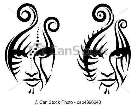 vector clip art de tribal cara trtibal cara tatuaje