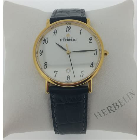 michel herbelin mens gold plated sonates black leather