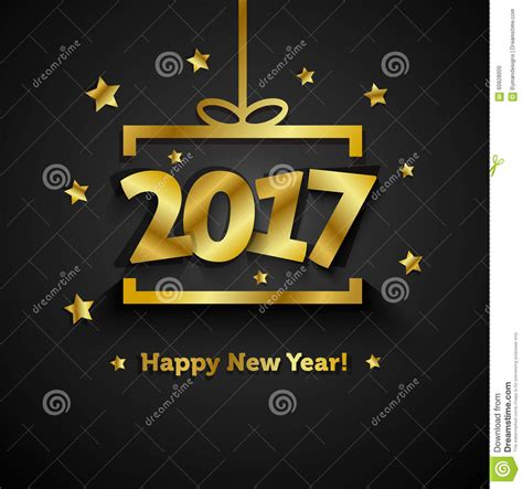 happy new year gift card golden gift box with 2017 happy new year greeting card