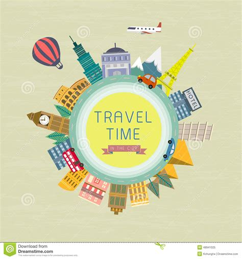Travel Time travel time concept in flat design stock vector image 48941025