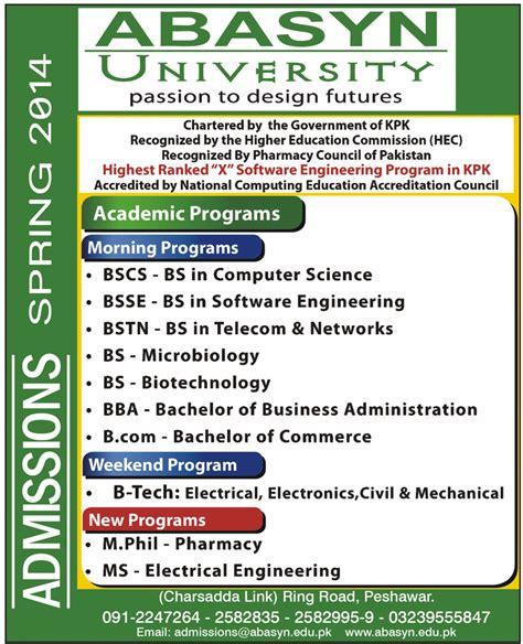 Mba Syllabus Peshawar by Abasyn Peshawar Bba Bscs Mba Mcs Admissions