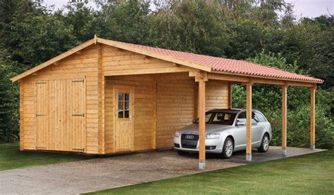 Garage Car Port by Log Garage With Carport Berggren