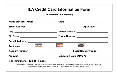 credit card information form template 25 credit card authorization form template free