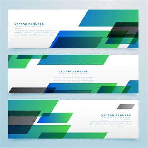 design header footer photoshop 3 banners with green and blue geometric shapes vector