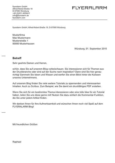 Indesign Geschäftsbrief Vorlagen Tutorial Einen Gesch 228 Ftsbrief Mit Scribus 1 4 5 Erstellen Flyeralarm
