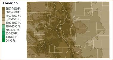 colorado map elevation map of colorado lakes streams and rivers