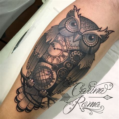 neo traditional owl tattoo clockwork owl neo traditional by roma