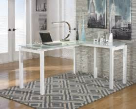 Glass L Shaped Office Desk Baraga Metro Modern White L Shaped Home Office Desk With Frosted Glass Top Ebay