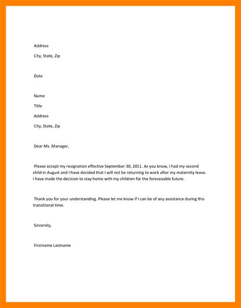 Experience Letter After Resignation Letter Of Resignation Maternity Leave Images Letter Format Exles