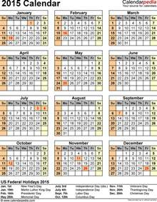 2015 Calendar Template With Holidays by 2015 Calendar With Federal Holidays Excel Pdf Word Templates