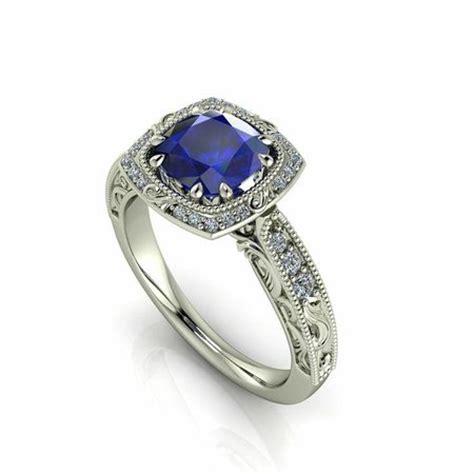 cushion cut ceylon sapphire and engagement ring