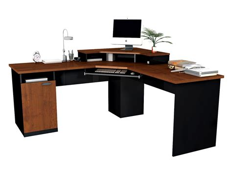 bestar hton corner computer desk hton tuscany brown and black black brown computer desk