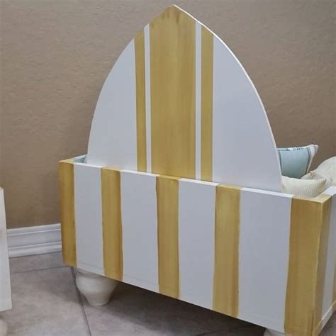 Surfboard Headboard by Crafted Bed Painted Design With