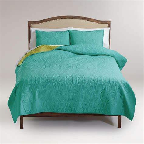turquoise and oasis green reversible quilt world