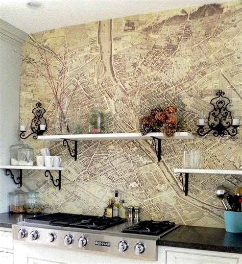 vintage map backsplash eclectic kitchen pearhouse