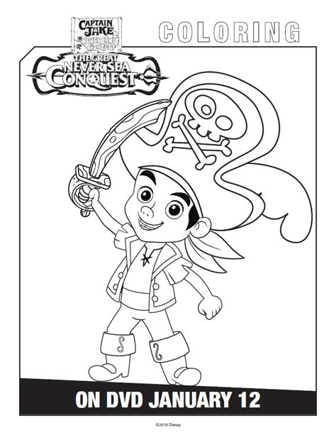printable coloring pages jake and the neverland pirates free printable jake and the never land pirates coloring pages